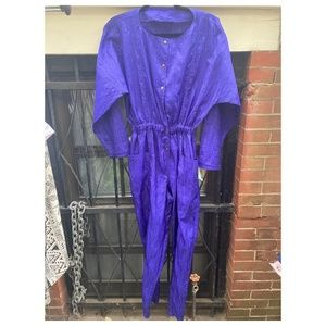 Purple Crinkle Batwing 80's Jumpsuit